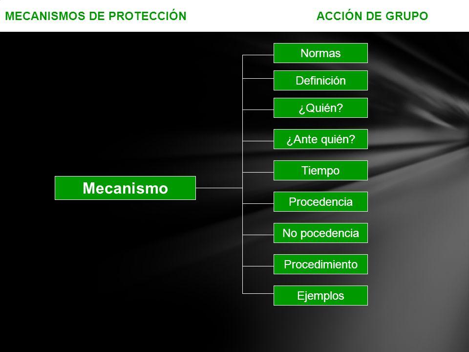 MECANISMOS DE PROTECCIÓN ACCIÓN DE GRUPO Mecanismo Normas ¿Quién.