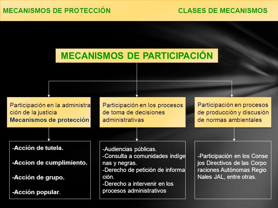 MECANISMOS DE PROTECCIÓN CLASES DE MECANISMOS Participación en la administra ción de la justicia Mecanismos de protección Participación en la administra ción de la justicia Mecanismos de protección Participación en los procesos de toma de decisiones administrativas Participación en los procesos de toma de decisiones administrativas MECANISMOS DE PARTICIPACIÓN - Acción de tutela.