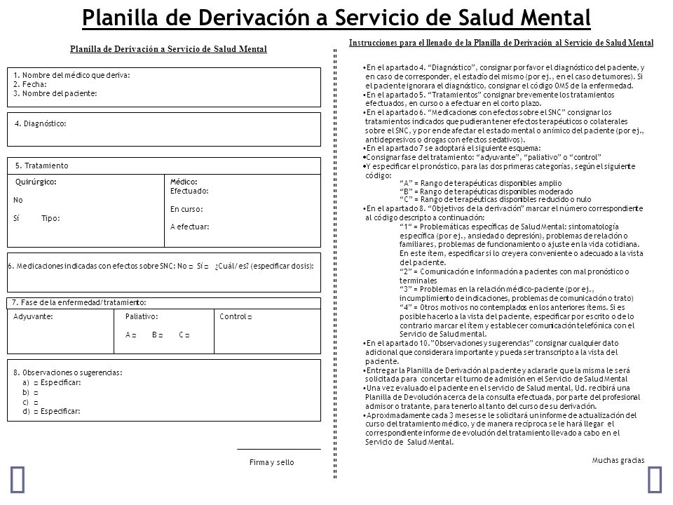 Planilla de Derivación a Servicio de Salud Mental 6.