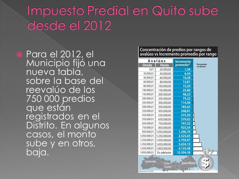 Para el 2012, el Municipio fijó una nueva tabla, sobre la base del reevalúo de los 750 000 predios que están registrados en el Distrito.