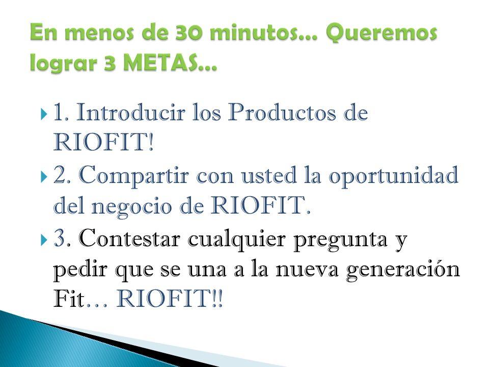 1. Introducir los Productos de RIOFIT. 2.