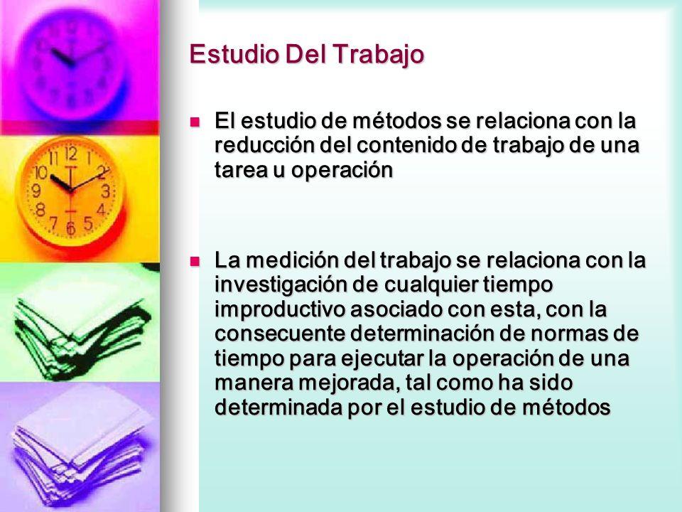 Estudio Del Trabajo El estudio de métodos se relaciona con la reducción del contenido de trabajo de una tarea u operación El estudio de métodos se rel