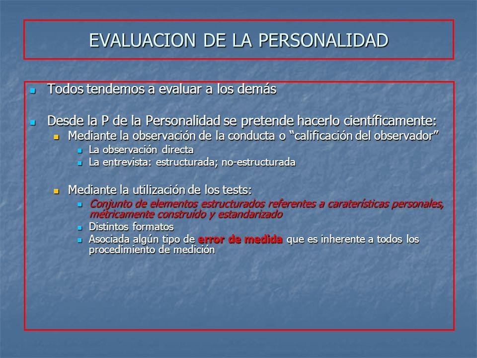 EVALUACION DE LA PERSONALIDAD Todos tendemos a evaluar a los demás Todos tendemos a evaluar a los demás Desde la P de la Personalidad se pretende hace