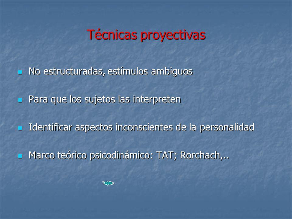 Técnicas proyectivas No estructuradas, estímulos ambiguos No estructuradas, estímulos ambiguos Para que los sujetos las interpreten Para que los sujet
