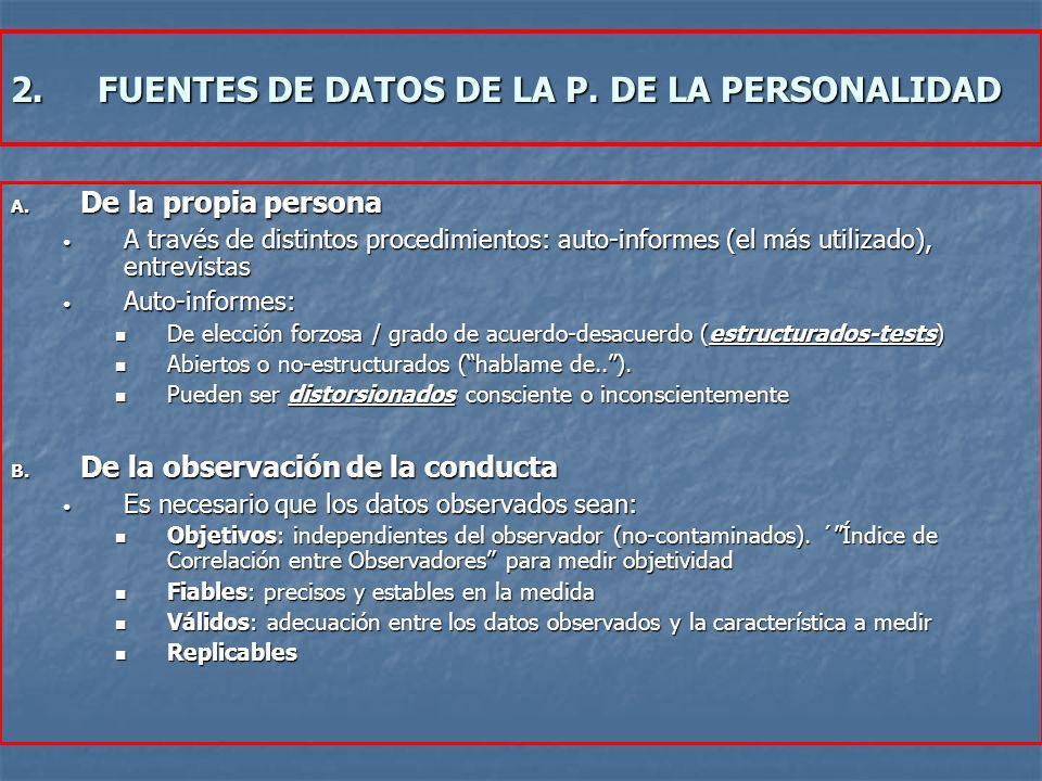 2.FUENTES DE DATOS DE LA P. DE LA PERSONALIDAD A. De la propia persona A través de distintos procedimientos: auto-informes (el más utilizado), entrevi