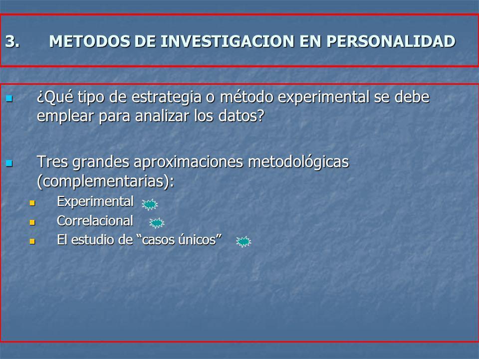 3.METODOS DE INVESTIGACION EN PERSONALIDAD ¿Qué tipo de estrategia o método experimental se debe emplear para analizar los datos? ¿Qué tipo de estrate