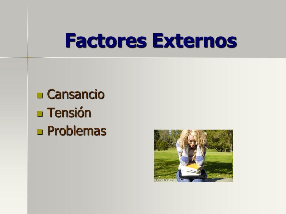 Factores Externos Cansancio Cansancio Tensión Tensión Problemas Problemas