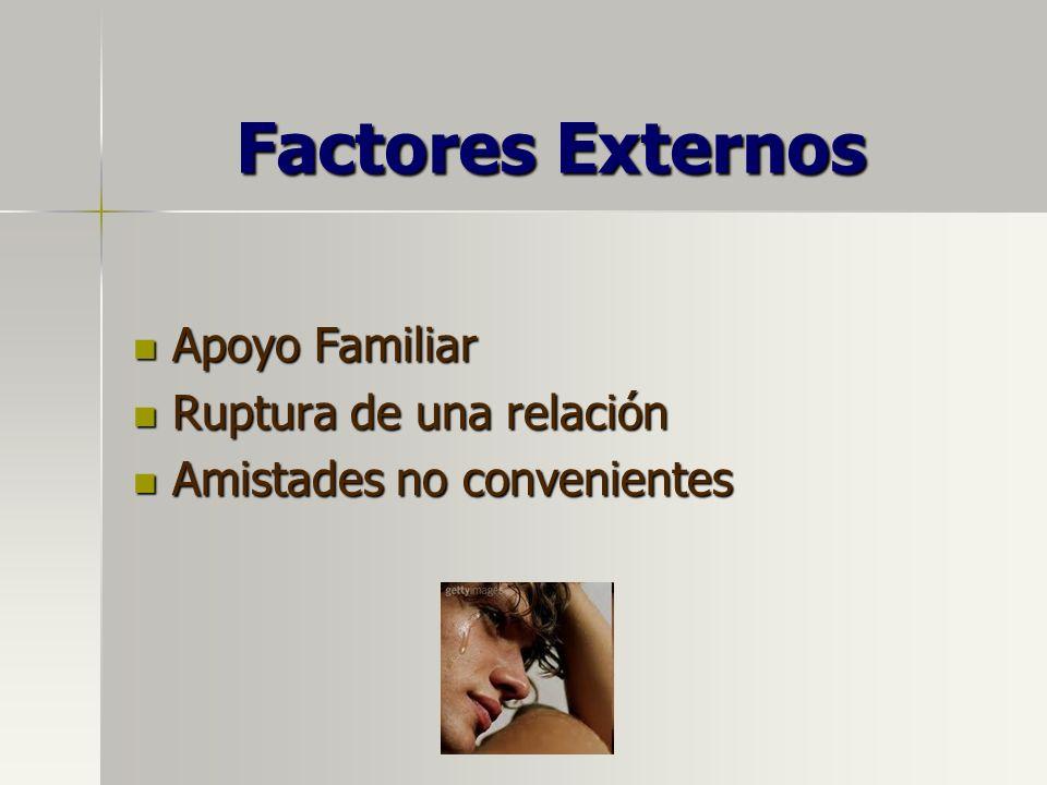 Factores Externos Apoyo Familiar Apoyo Familiar Ruptura de una relación Ruptura de una relación Amistades no convenientes Amistades no convenientes