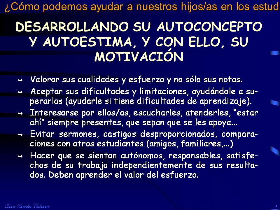 Charo Paradas Valencia ¿Cómo podemos ayudar a nuestros hijos/as en los estudios? 6 DESARROLLANDO SU AUTOCONCEPTO Y AUTOESTIMA, Y CON ELLO, SU MOTIVACI