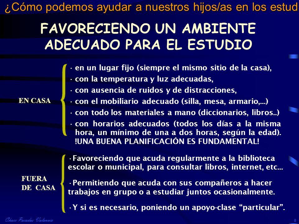 Charo Paradas Valencia ¿Cómo podemos ayudar a nuestros hijos/as en los estudios? 8 FAVORECIENDO UN AMBIENTE ADECUADO PARA EL ESTUDIO EN CASA FUERA DE