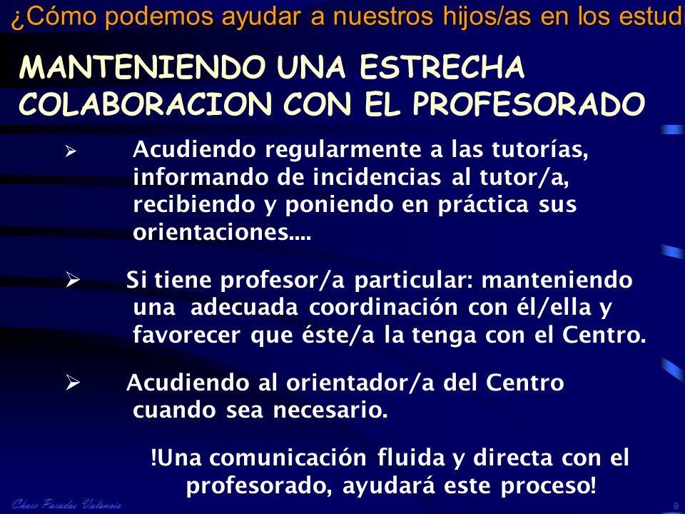 Charo Paradas Valencia ¿Cómo podemos ayudar a nuestros hijos/as en los estudios? 9 Acudiendo regularmente a las tutorías, informando de incidencias al