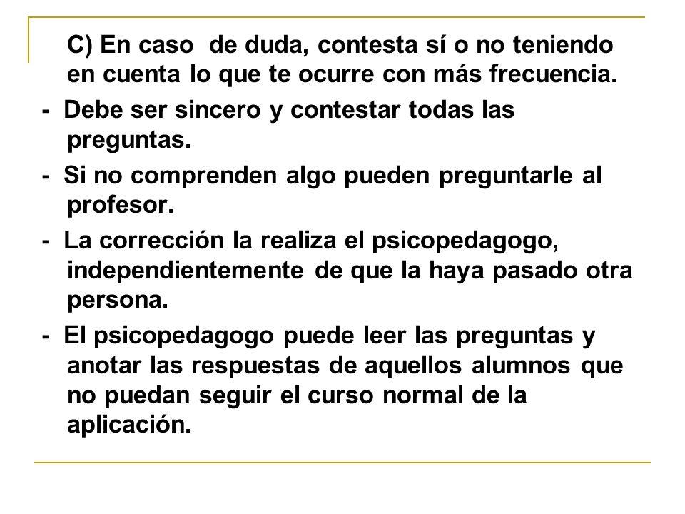 2.2 Normas de corrección y puntuación - Para elaborar el perfil hay que obtener las puntuaciones directas (realizada por alumno o psicopedagogo).