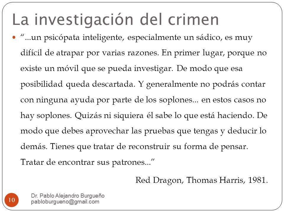 La investigación del crimen...un psicópata inteligente, especialmente un sádico, es muy difícil de atrapar por varias razones.