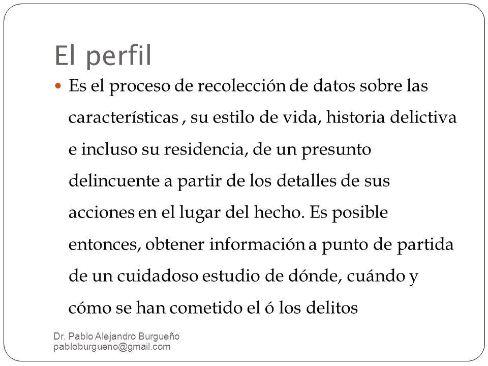 El perfil Es el proceso de recolección de datos sobre las características, su estilo de vida, historia delictiva e incluso su residencia, de un presunto delincuente a partir de los detalles de sus acciones en el lugar del hecho.