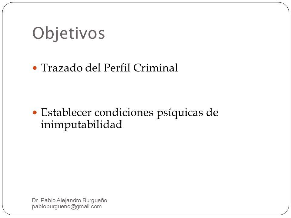 Objetivos Trazado del Perfil Criminal Establecer condiciones psíquicas de inimputabilidad Dr.