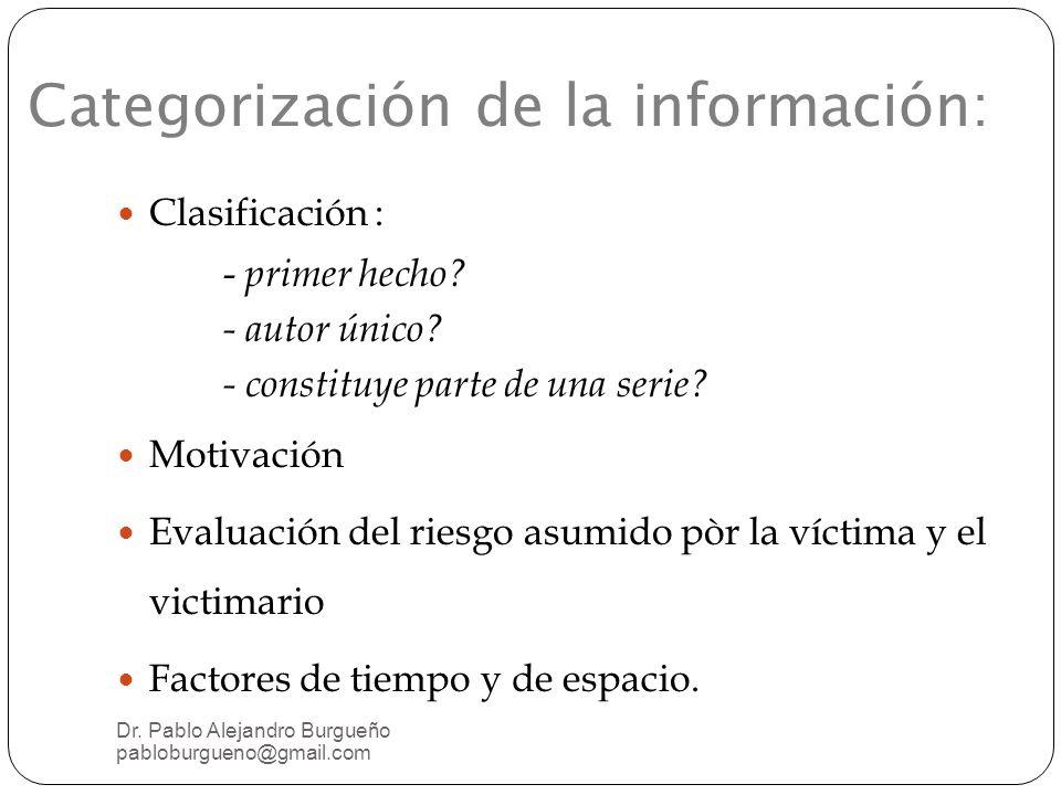Categorización de la información: Clasificación : - primer hecho.