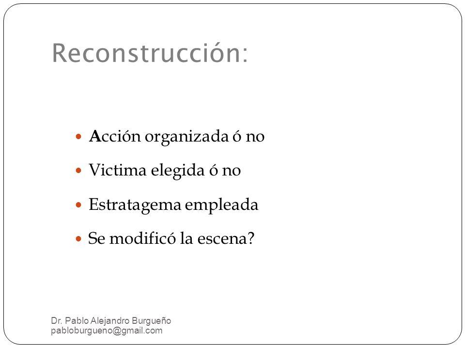Reconstrucción: A cción organizada ó no Victima elegida ó no Estratagema empleada Se modificó la escena.