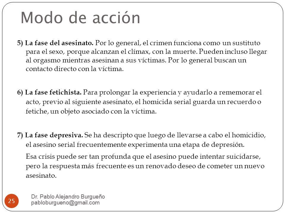 Modo de acción Dr.Pablo Alejandro Burgueño pabloburgueno@gmail.com 25 5) La fase del asesinato.
