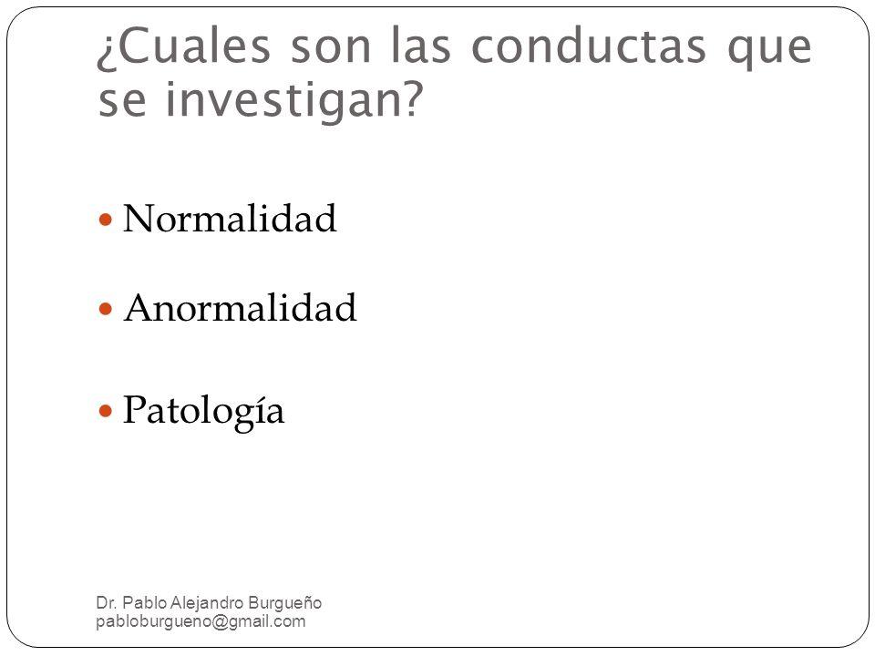 ¿Cuales son las conductas que se investigan.Normalidad Anormalidad Patología Dr.