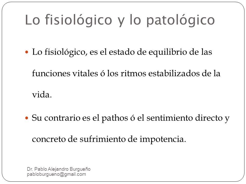 Lo fisiológico y lo patológico Lo fisiológico, es el estado de equilibrio de las funciones vitales ó los ritmos estabilizados de la vida.