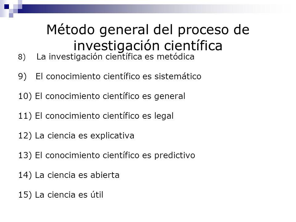 Método general del proceso de investigación científica 8) La investigación científica es metódica 9) El conocimiento científico es sistemático 10) El