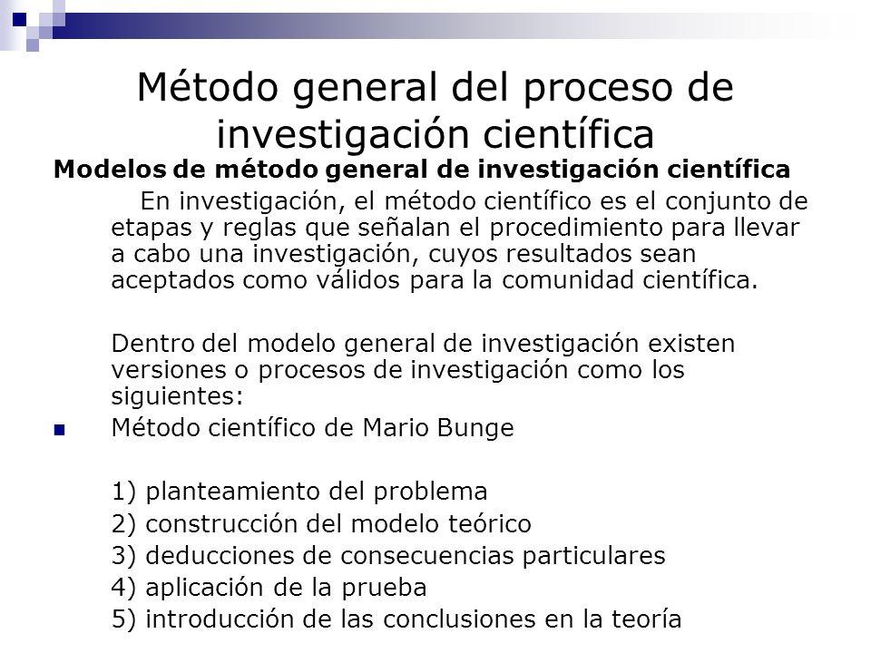 Método general del proceso de investigación científica Modelos de método general de investigación científica En investigación, el método científico es