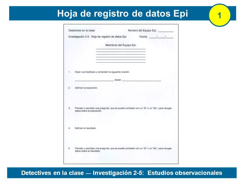 Hoja de registro de datos Epi 1 Detectives en la clase Investigación 2-5: Estudios observacionales