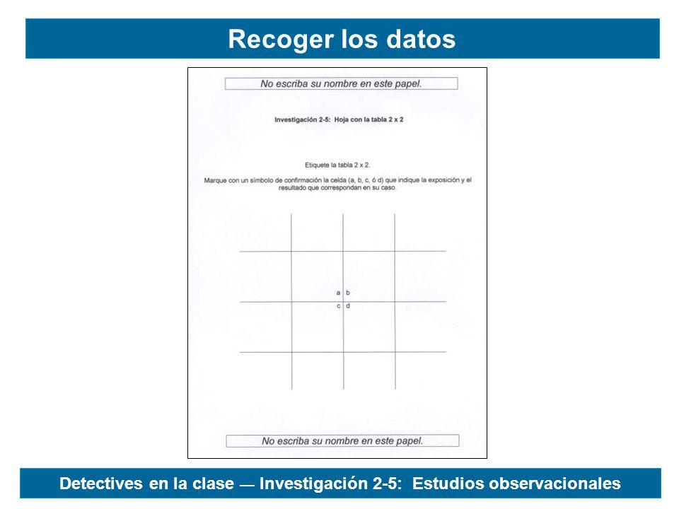 Recoger los datos Detectives en la clase Investigación 2-5: Estudios observacionales
