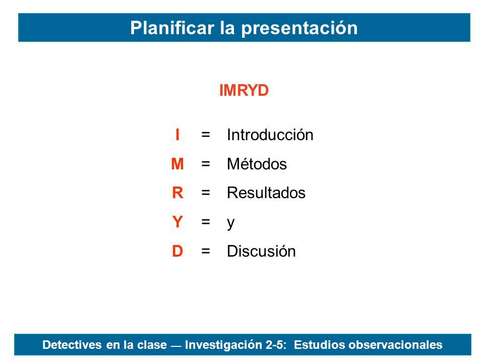 IMRYD IMRYDIMRYD ========== Introducción Métodos Resultados y Discusión Planificar la presentación Detectives en la clase Investigación 2-5: Estudios