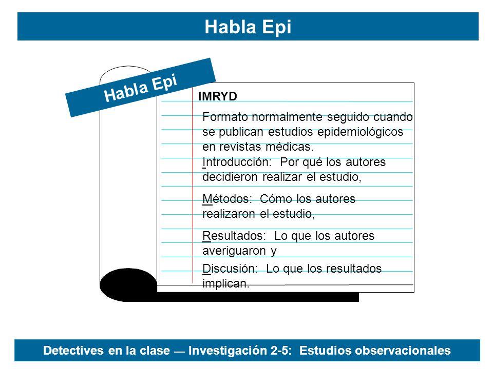 Habla Epi IMRYD Habla Epi Formato normalmente seguido cuando se publican estudios epidemiológicos en revistas médicas. Introducción: Por qué los autor