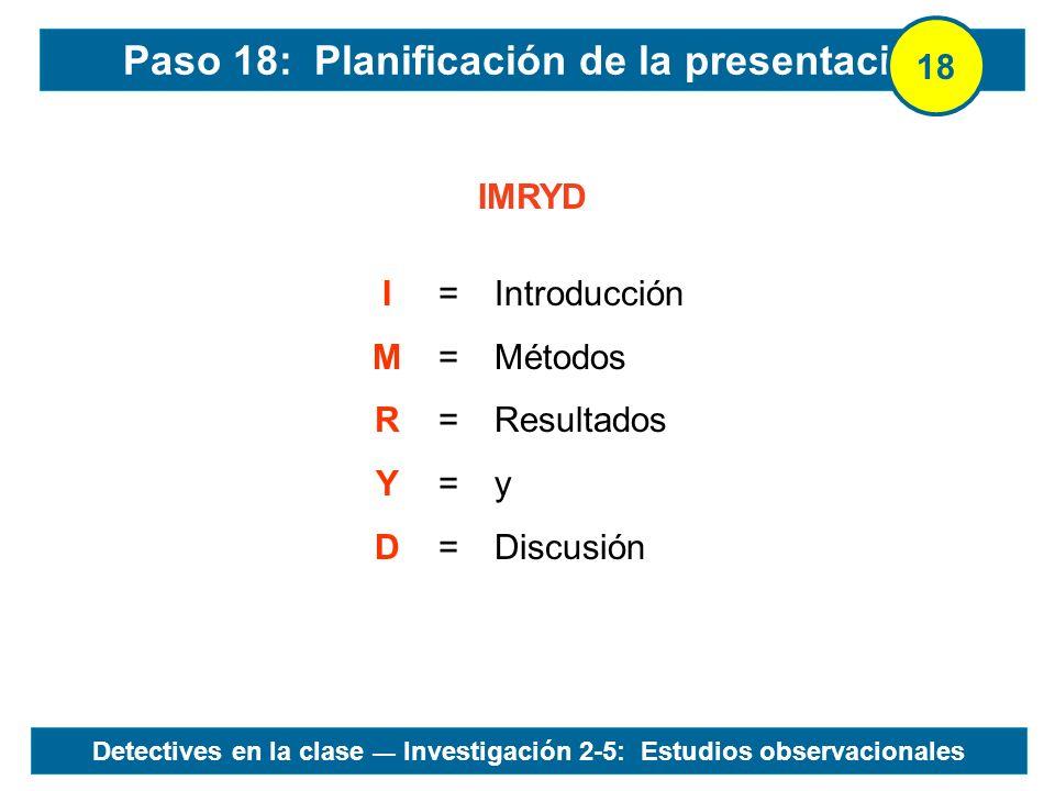 IMRYD IMRYDIMRYD ========== Introducción Métodos Resultados y Discusión Paso 18: Planificación de la presentación 18 Detectives en la clase Investigac