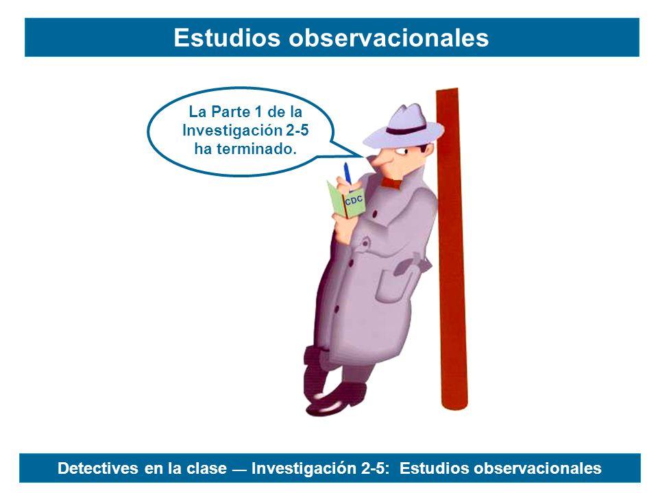 CDC La Parte 1 de la Investigación 2-5 ha terminado. Estudios observacionales Detectives en la clase Investigación 2-5: Estudios observacionales