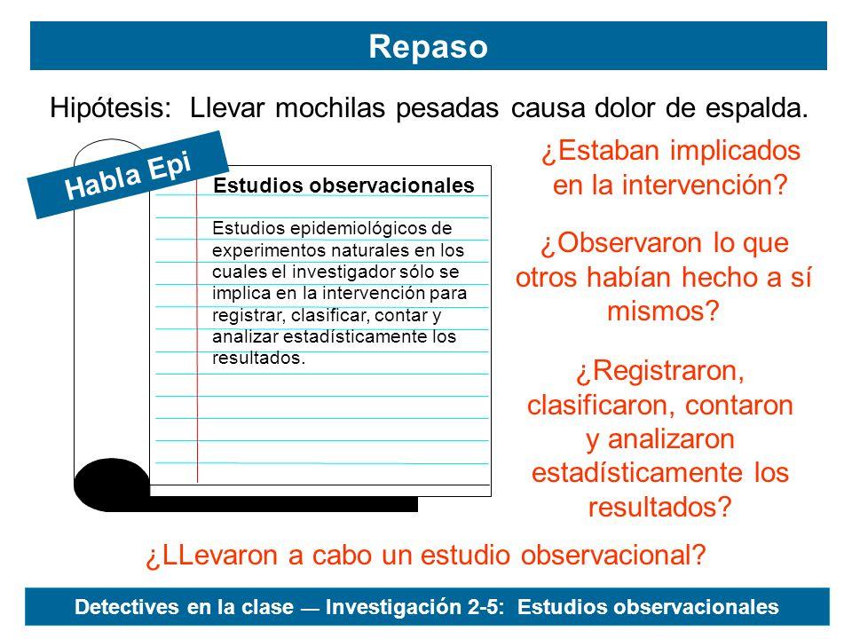 Estudio observacional Elegir una hipótesisPaso 1 Planear el estudioPasos 2-7 Recoger los datosPasos 8-12 Analizar los datosPasos 13-17 Planificar la presentaciónPaso 18 Detectives en la clase Investigación 2-5: Estudios observacionales