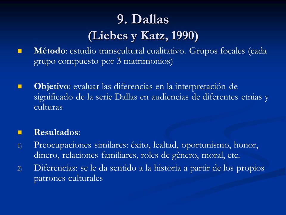 9. Dallas (Liebes y Katz, 1990) Método: estudio transcultural cualitativo. Grupos focales (cada grupo compuesto por 3 matrimonios) Objetivo: evaluar l