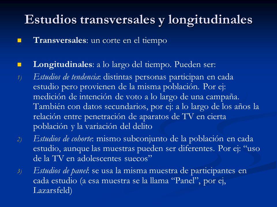 Estudios transversales y longitudinales Transversales: un corte en el tiempo Longitudinales: a lo largo del tiempo. Pueden ser: 1) 1) Estudios de tend