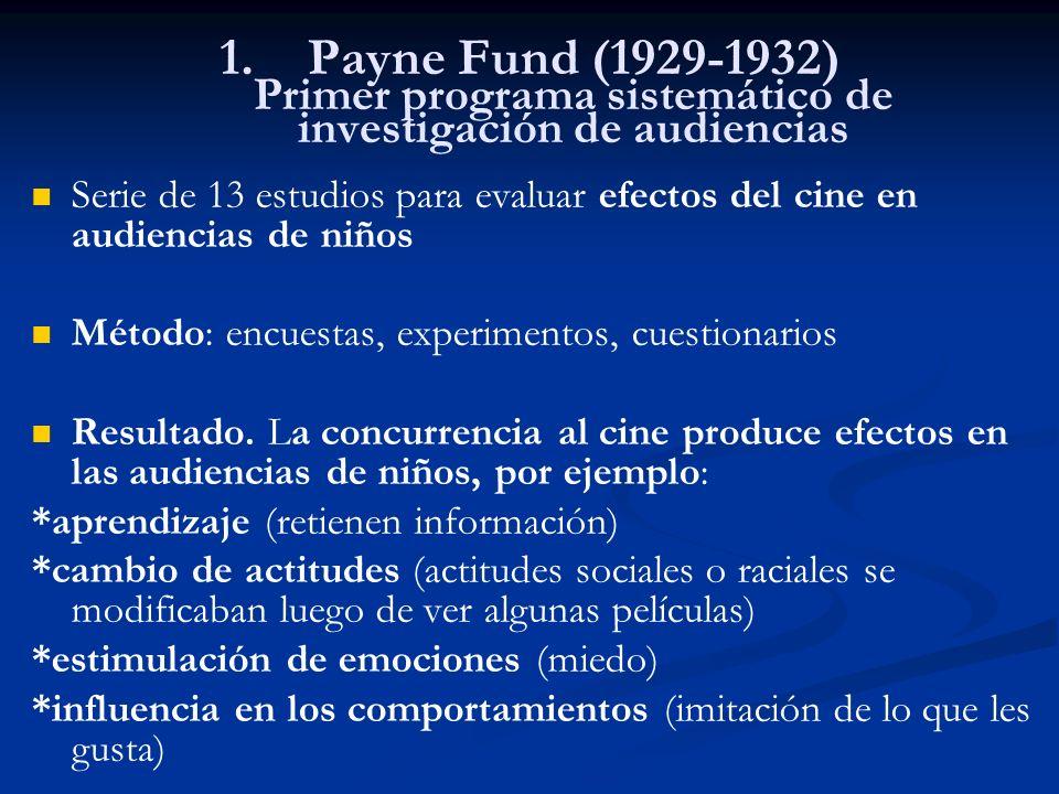 1. 1.Payne Fund (1929-1932) Primer programa sistemático de investigación de audiencias Serie de 13 estudios para evaluar efectos del cine en audiencia