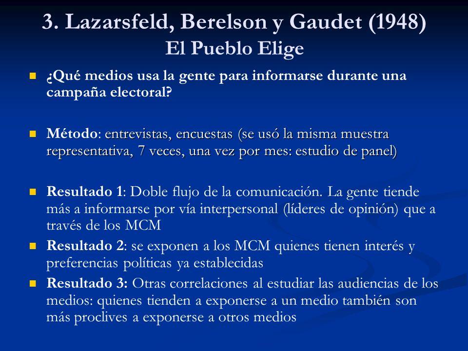 3. Lazarsfeld, Berelson y Gaudet (1948) El Pueblo Elige ¿Qué medios usa la gente para informarse durante una campaña electoral? entrevistas, encuestas