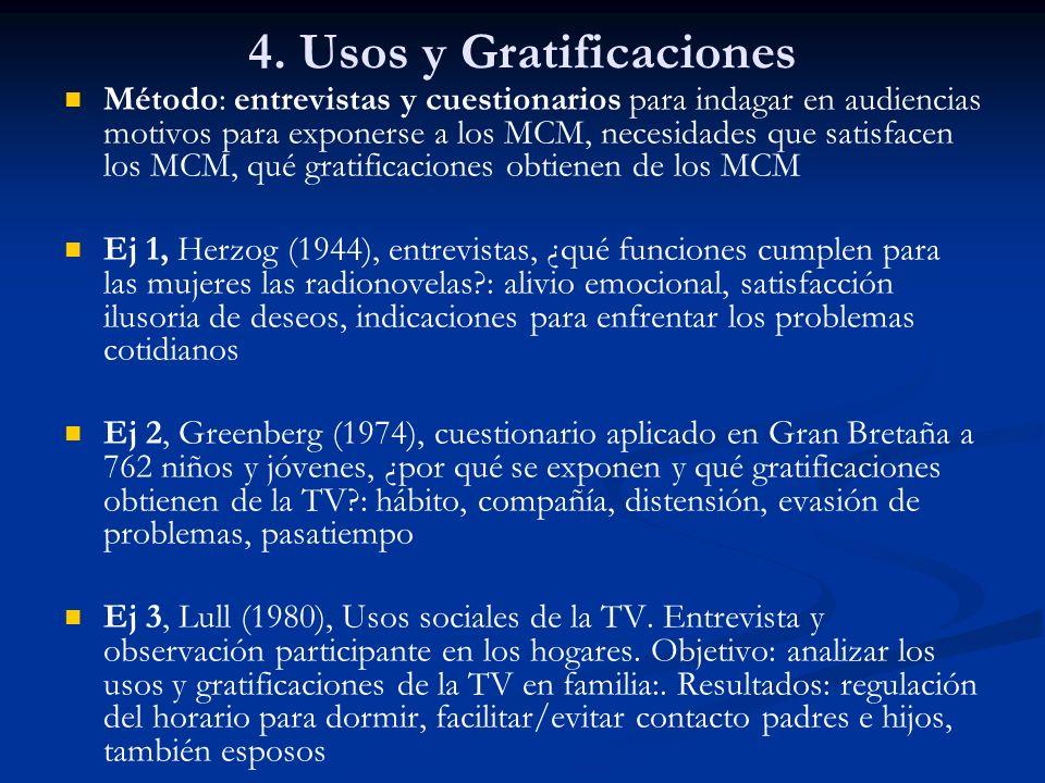 4. Usos y Gratificaciones Método: entrevistas y cuestionarios para indagar en audiencias motivos para exponerse a los MCM, necesidades que satisfacen