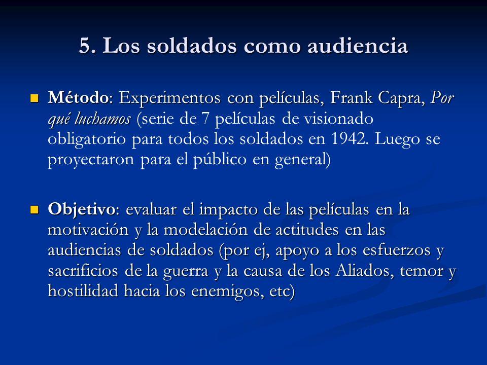 5. Los soldados como audiencia Método: Experimentos con películas, Frank Capra, Por qué luchamos Método: Experimentos con películas, Frank Capra, Por