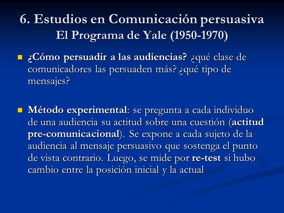 6. Estudios en Comunicación persuasiva El Programa de Yale (1950-1970) ¿Cómo persuadir a las audiencias? ¿qué clase de comunicadores las persuaden más