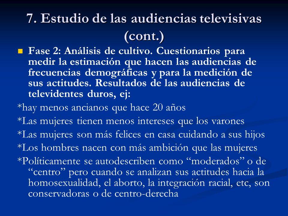 7. Estudio de las audiencias televisivas (cont.) Fase 2: Análisis de cultivo. Cuestionarios para medir la estimación que hacen las audiencias de frecu
