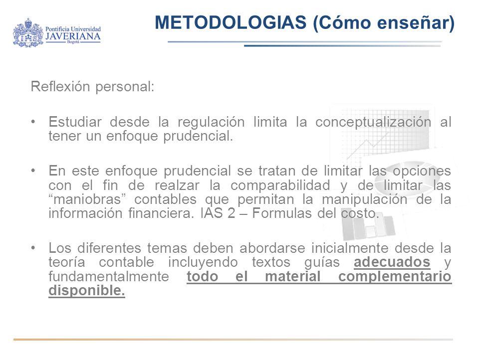 METODOLOGIAS (Cómo enseñar) Reflexión personal: Estudiar desde la regulación limita la conceptualización al tener un enfoque prudencial.