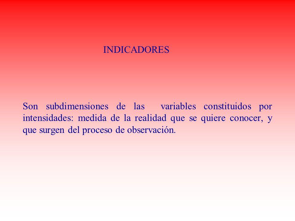 INDICADORES Son subdimensiones de las variables constituidos por intensidades: medida de la realidad que se quiere conocer, y que surgen del proceso d