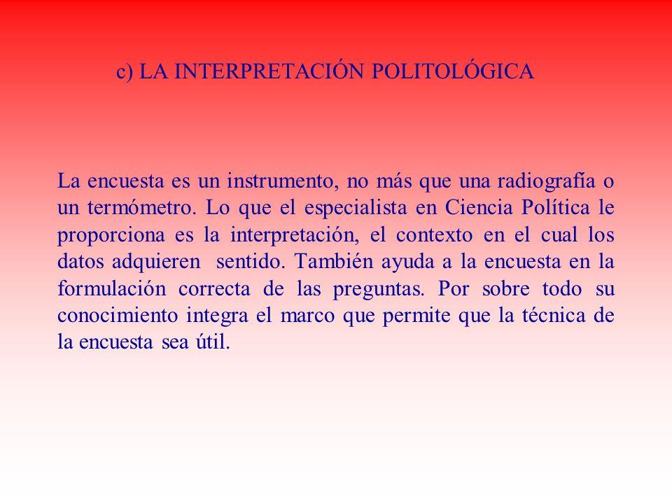 c) LA INTERPRETACIÓN POLITOLÓGICA La encuesta es un instrumento, no más que una radiografía o un termómetro. Lo que el especialista en Ciencia Polític