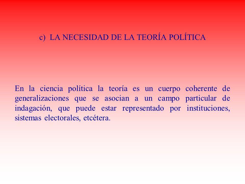 c) LA NECESIDAD DE LA TEORÍA POLÍTICA En la ciencia política la teoría es un cuerpo coherente de generalizaciones que se asocian a un campo particular