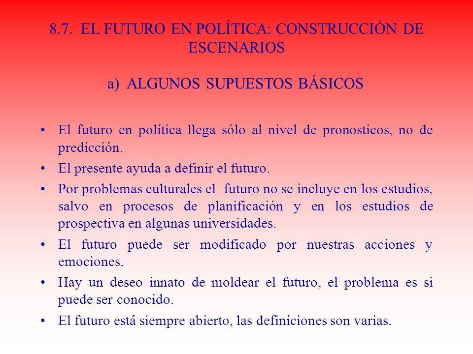 8.7. EL FUTURO EN POLÍTICA: CONSTRUCCIÓN DE ESCENARIOS El futuro en política llega sólo al nivel de pronosticos, no de predicción. El presente ayuda a