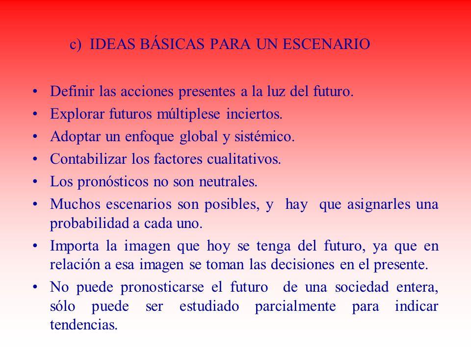 c) IDEAS BÁSICAS PARA UN ESCENARIO Definir las acciones presentes a la luz del futuro. Explorar futuros múltiplese inciertos. Adoptar un enfoque globa