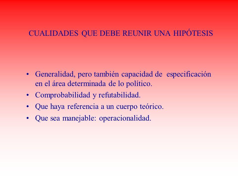 CUALIDADES QUE DEBE REUNIR UNA HIPÓTESIS Generalidad, pero también capacidad de especificación en el área determinada de lo político. Comprobabilidad