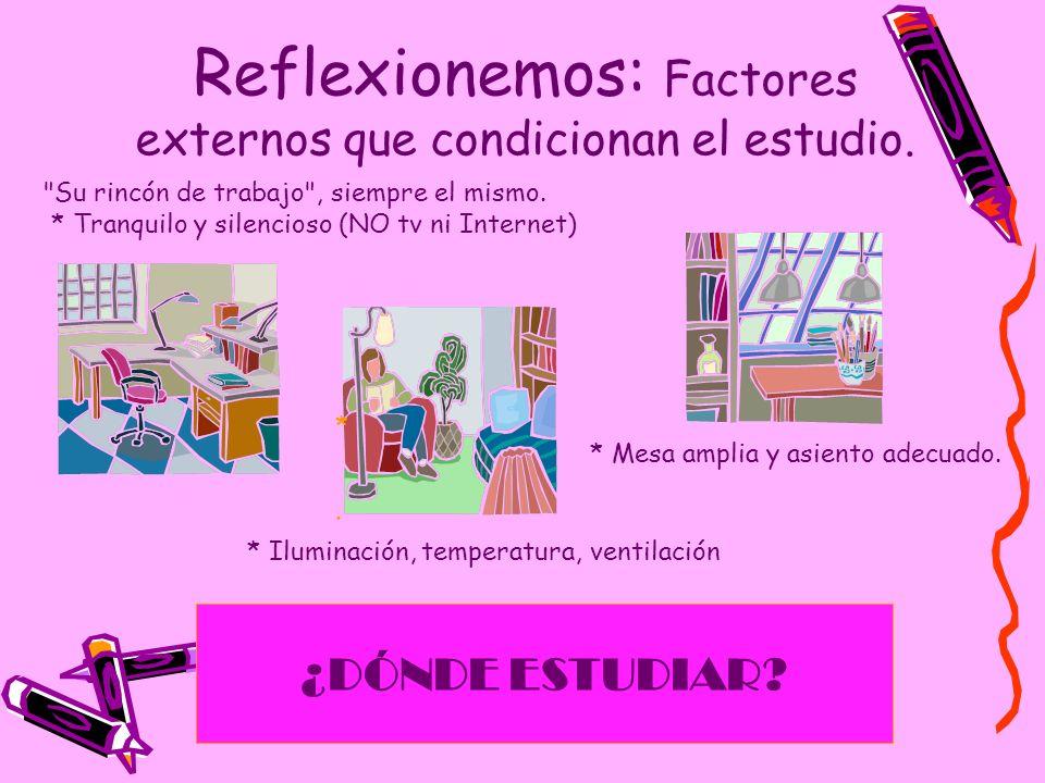 Reflexionemos: Factores externos que condicionan el estudio. ¿DÓNDE ESTUDIAR? *.*.