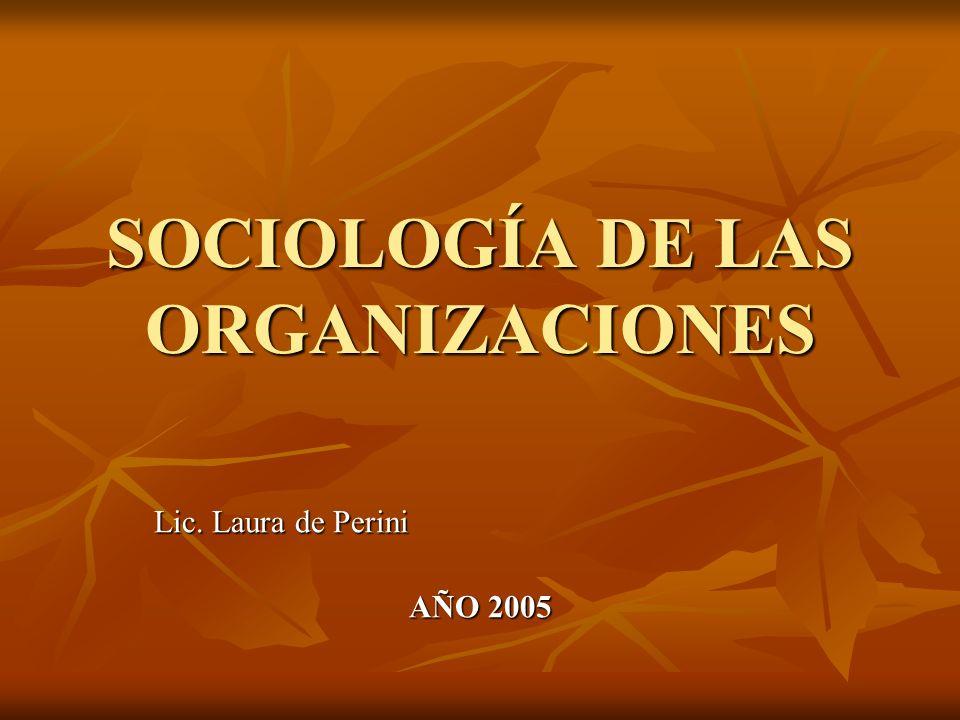 SOCIOLOGÍA DE LAS ORGANIZACIONES Lic. Laura de Perini AÑO 2005